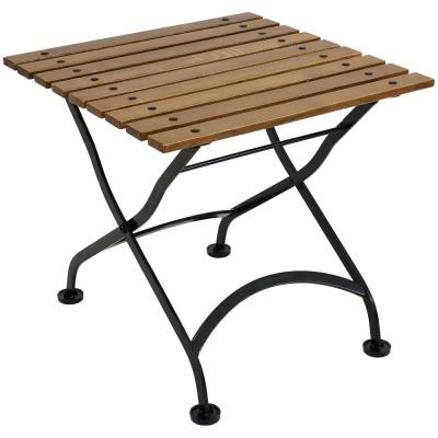 European 20 in. Square Folding Chestnut Wood Outdoor Side Table