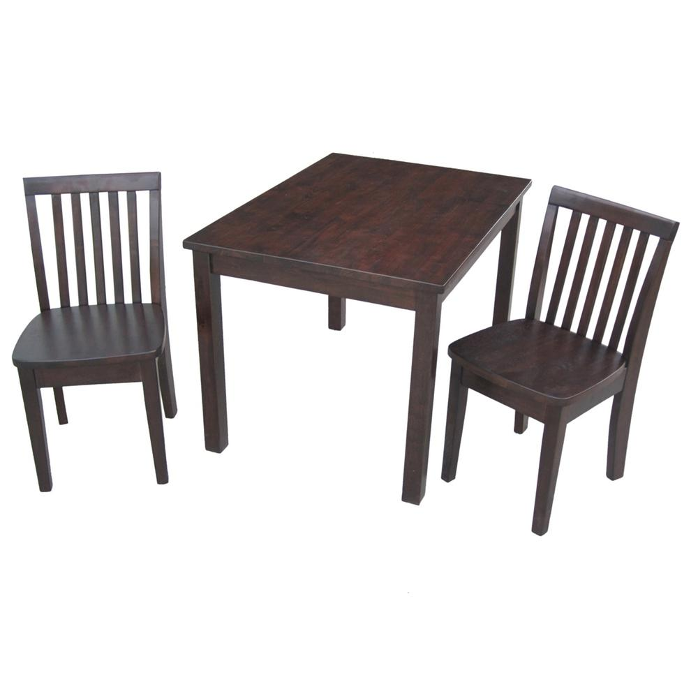 International Concepts 3-Piece Mocha Children\'s Table and Chair Set ...