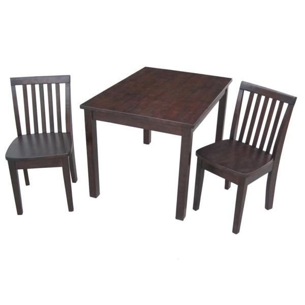 International Concepts 3-Piece Mocha Children's Table and Chair Set