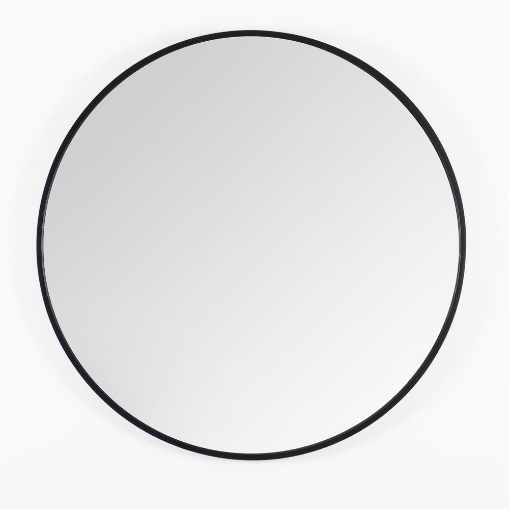 "Vasto Black Scandinavian Handcrafted Wall Mirror - Round (24"")"