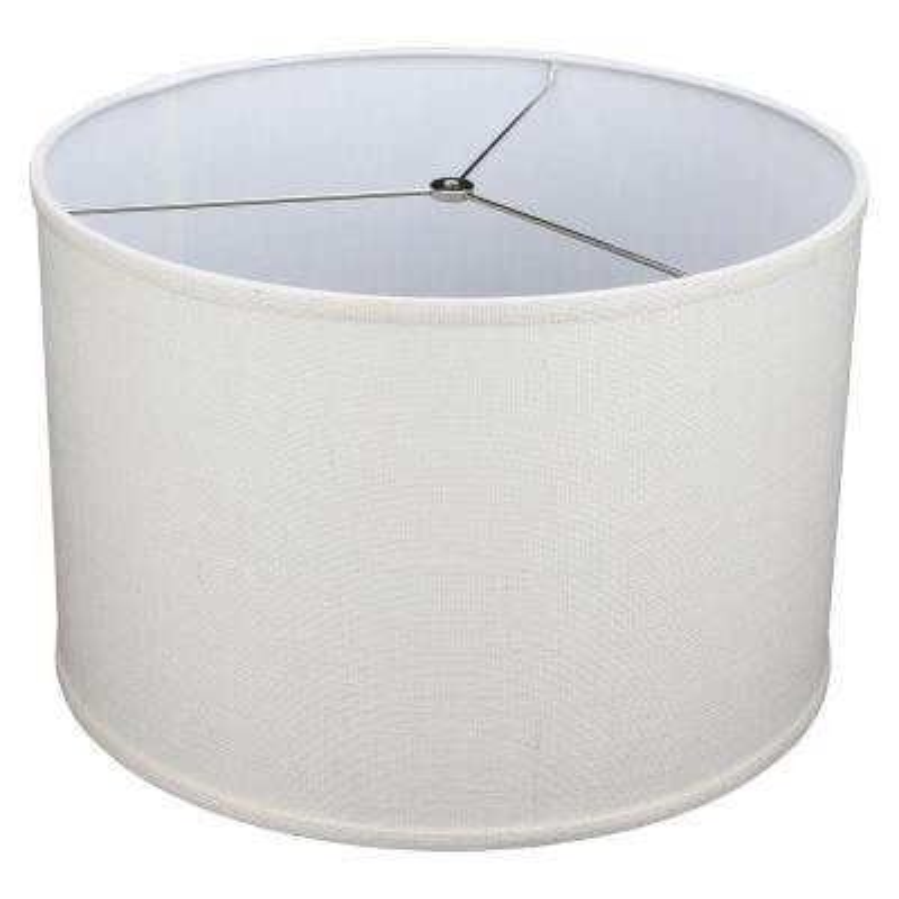 18 in. Top Diameter x 18 in. Bottom Diameter x 12 in. H Burlap Off White Drum Lamp Shade