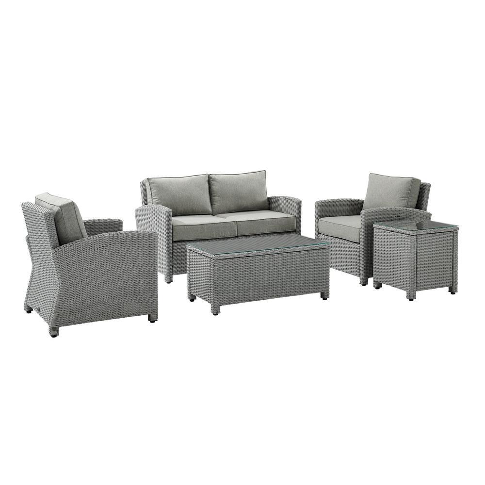 Bradenton Gray 5-Piece Wicker Patio Conversation Set with Gray Cushions