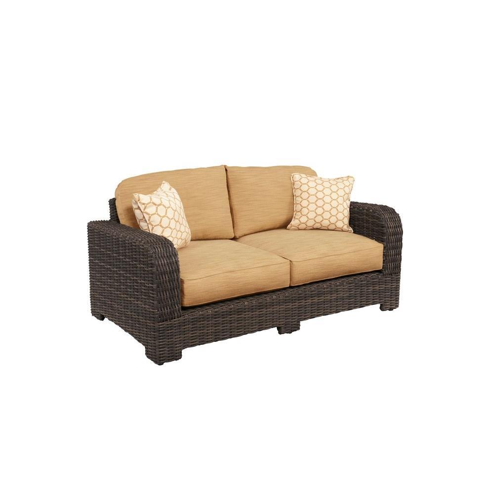 Brown Jordan Northshore Patio Loveseat with Toffee Cushions and Tessa Barley Throw Pillows -- CUSTOM