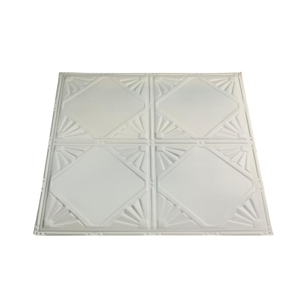 Great Lakes Tin Erie 2 ft. x 2 ft. Nail Up Metal Ceiling Tile in Antique White (Case of 5)