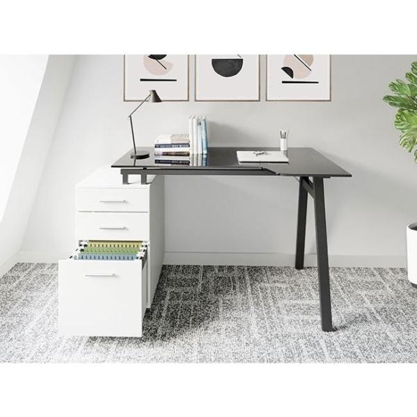 Techni Mobili White Modern Home Office Computer Desk With Smoke Tempered Glass Top And Storage Rta 3377d Wht The Home Depot