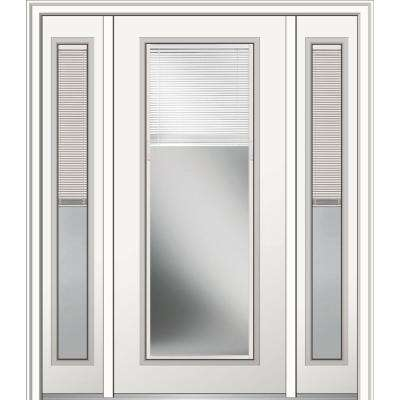 64 in. x 80 in. Internal Blinds Left-Hand Inswing Full Lite Clear Primed Steel Prehung Front Door with Sidelites