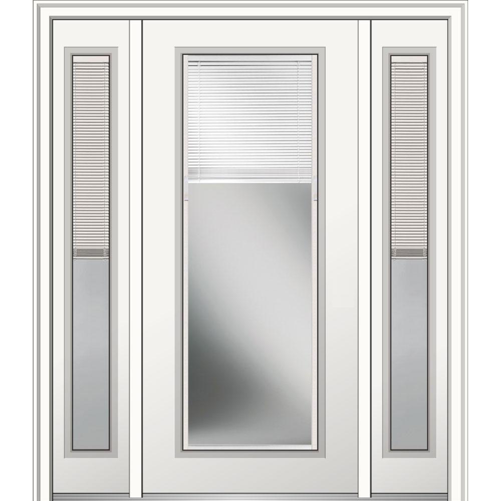 Mmi Door 64 In X 80 In Internal Blinds Right Hand Inswing Full Lite Clear Primed Steel Prehung