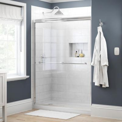 Crestfield 60 in. x 70 in. Traditional Semi-Frameless Sliding Shower Door in Chrome and 1/4 in. (6mm) Clear Glass