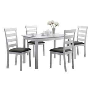 Indoor Black And White Ladder Back 5 Piece Dining Set With A Solid Rectangular Table