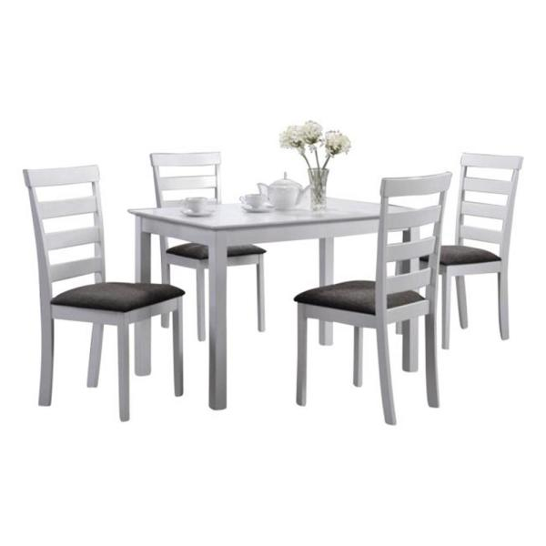Indoor Black and White Ladder-Back 5-Piece Dining Set with a Solid  Rectangular Dining Table