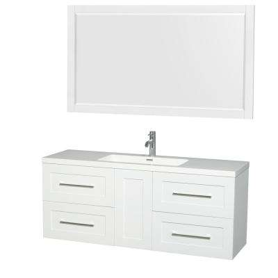 Olivia 60 in. W x 19 in. D Vanity in Glossy White with Acrylic Vanity Top in White with White Basin and 58 in. Mirror