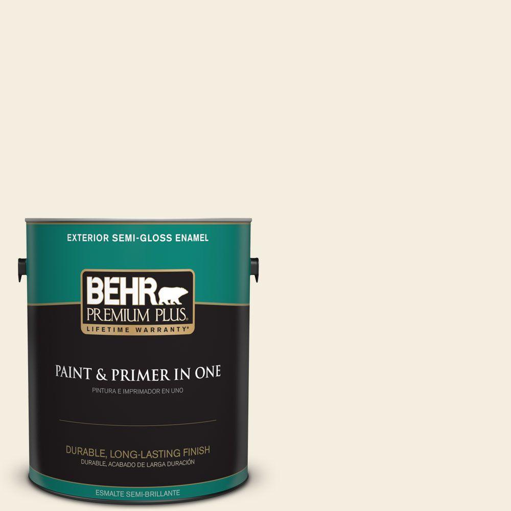 BEHR Premium Plus 1-gal. #W-D-300 Eggshell Cream Semi-Gloss Enamel Exterior Paint