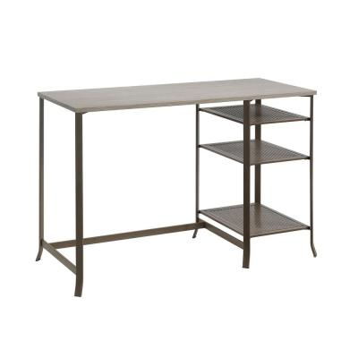 Center City 46.929 in. W Champagne Oak Single Ped Desk with Metal Frame