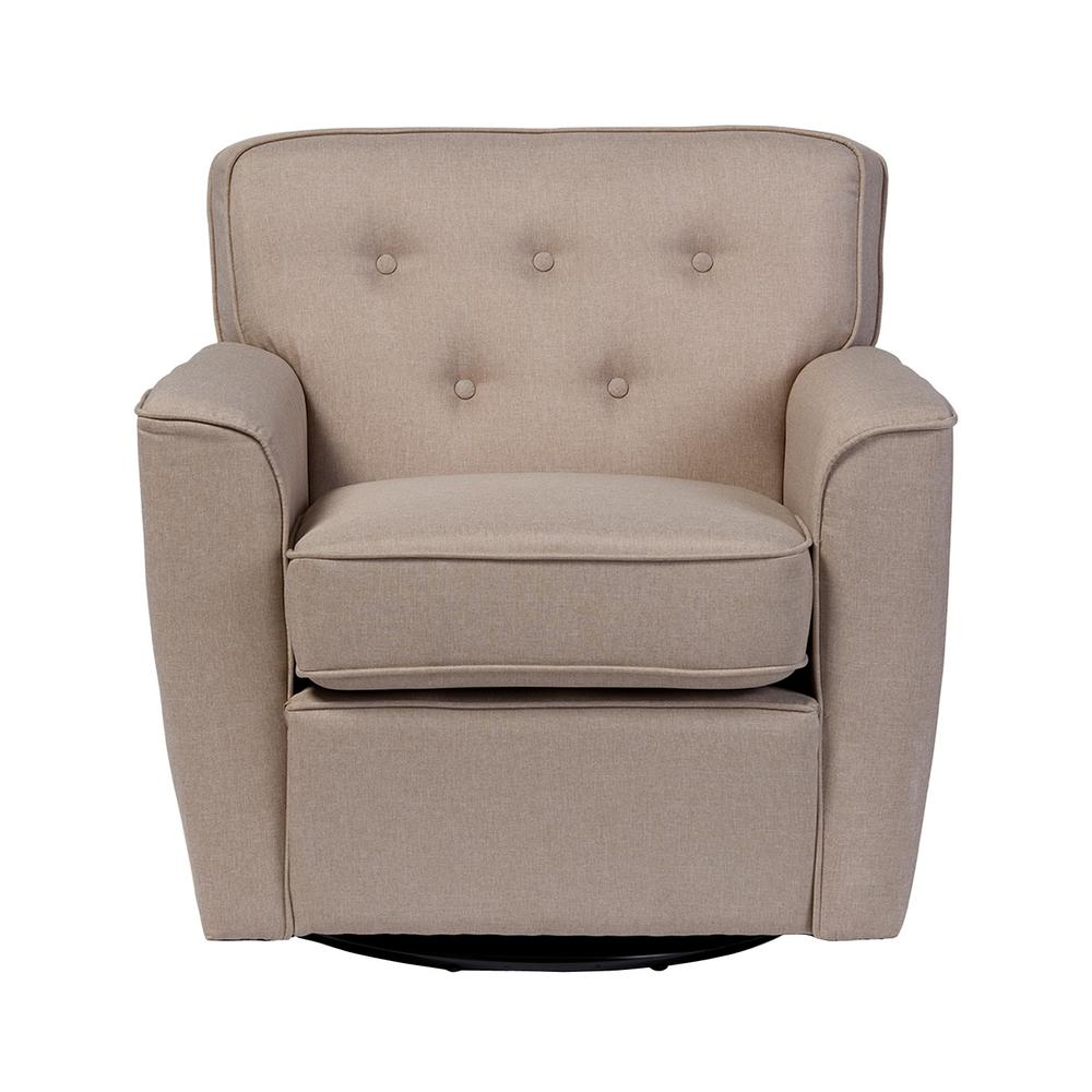 Canberra Contemporary Beige Fabric Upholstered Accent Chair
