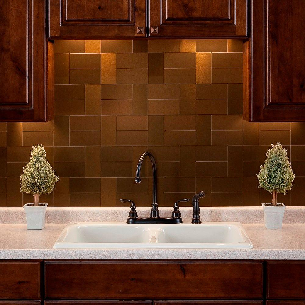 Aspect Short Grain 3 in. x 6 in. Metal Decorative Wall Tile in Brushed Bronze (8-Pack)