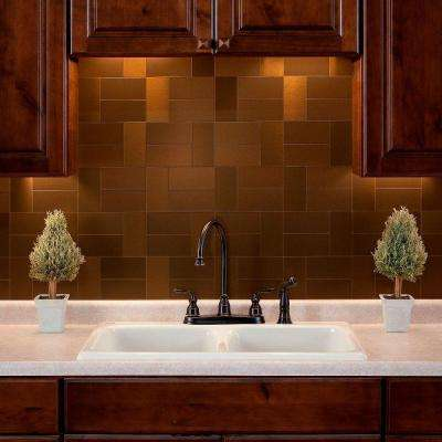 Short Grain 3 in. x 6 in. Metal Decorative Wall Tile in Brushed Bronze (8-Pack)