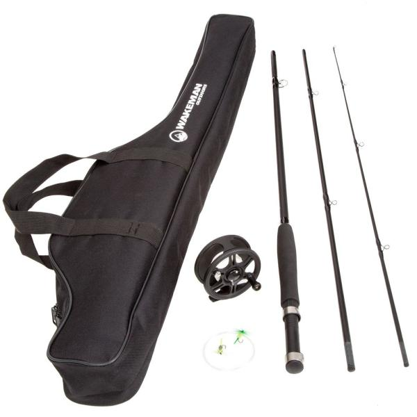 Wakeman Outdoors Fly Fishing Rod Combo Kit With Carrying Case 80 Fsh8000 The Home Depot