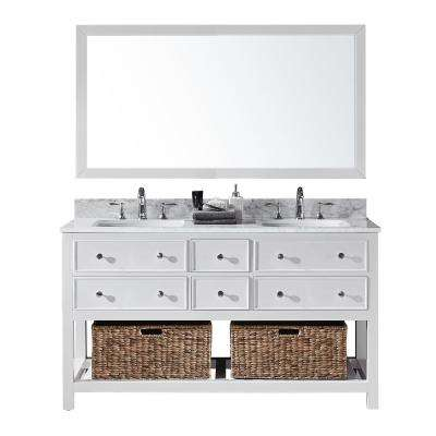 Elodie 60 in. W x 22 in. D x 34.21 in. H Bath Vanity in White With White Marble Top With White Basins and Mirror