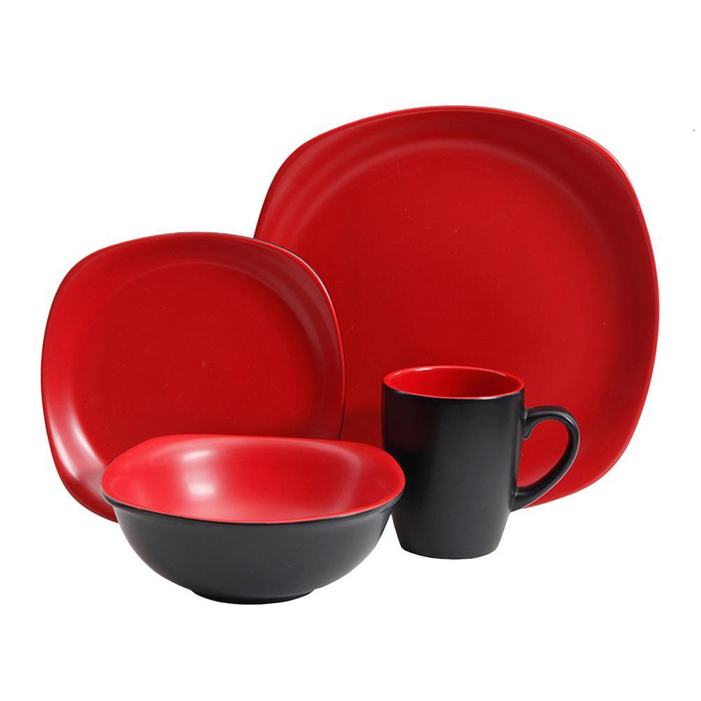 Tristen 16-Piece Matte Red and Black Dinnerware Set