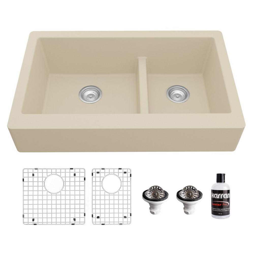 Retrofit Apron-Front Quartz/Granite composite 34 in. Double Bowl 60/40 Farmhouse Kitchen Sink Kit in Bisque