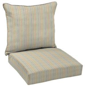 Ticking Stripe 2 Piece Deep Seating Outdoor Lounge Chair Cushion Set