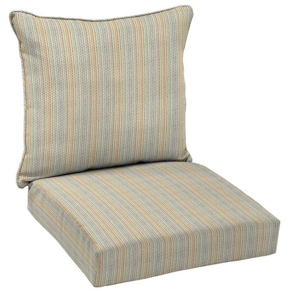 Ticking Stripe 2-Piece Deep Seating Outdoor Lounge Chair Cushion Set
