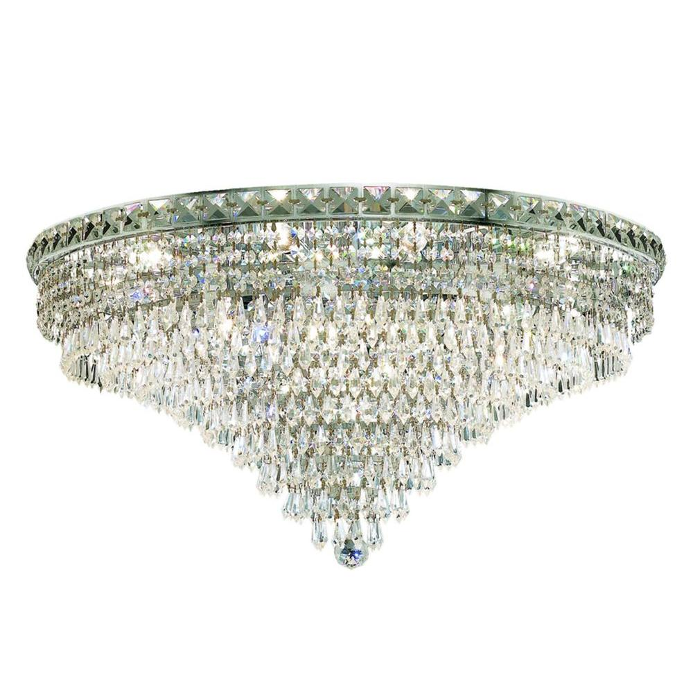 Elegant Lighting 18-Light Gold Flushmount with Clear Crystal