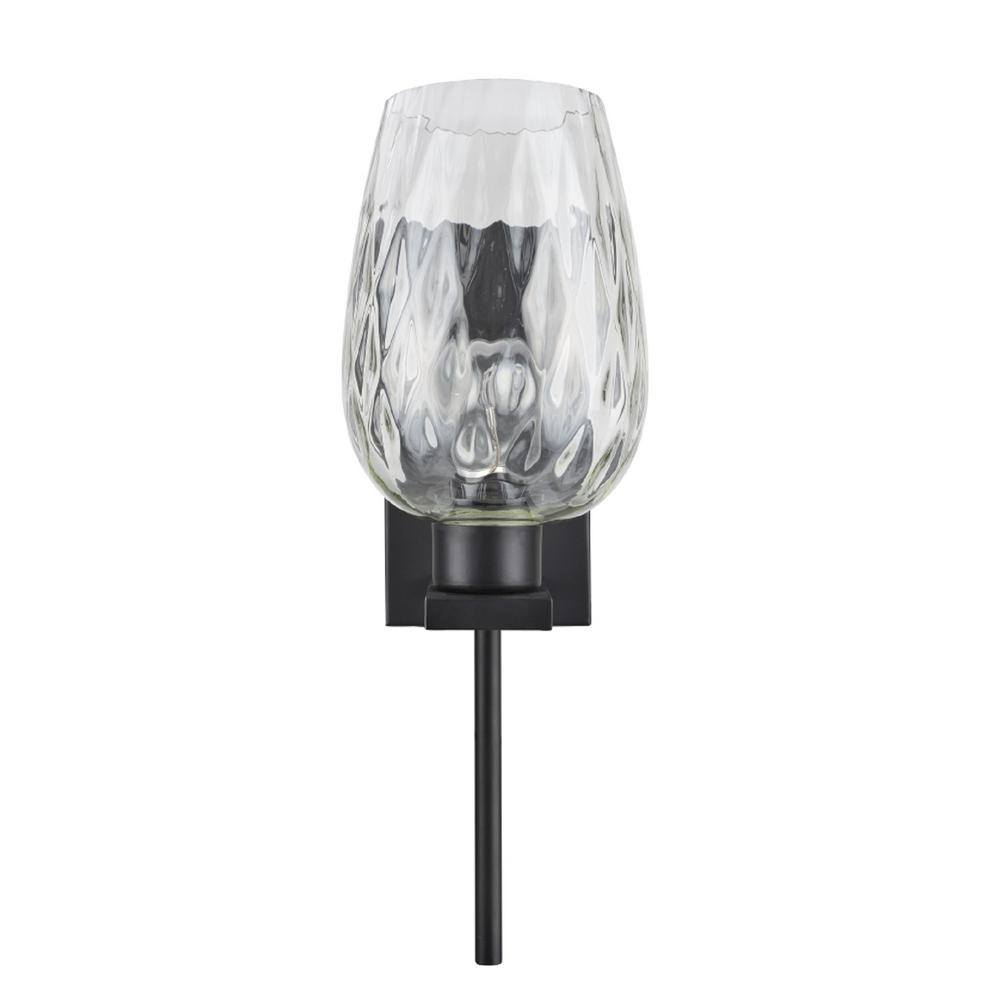 Aspen Creative Corporation 1-Light Oil Rubbed Bronze Vanity Light with Clear Hammer Glass Shade