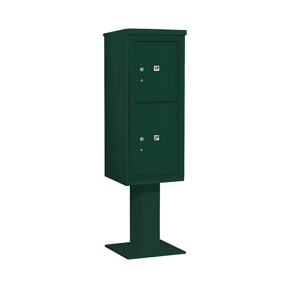 3400 Series Green Mount 4C Pedestal Mailbox with 2 PL5's Parcel