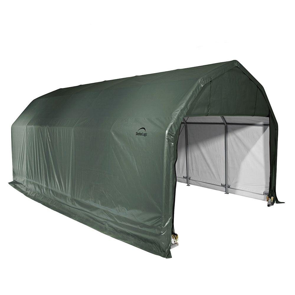 ShelterLogic 12 ft. x 28 ft. x 9 ft. Green Steel and Polyethylene Garage without Floor