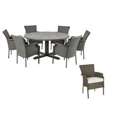 Grayson 7-Piece Ash Gray Wicker Outdoor Patio Dining Set with CushionGuard Chalk White Cushions