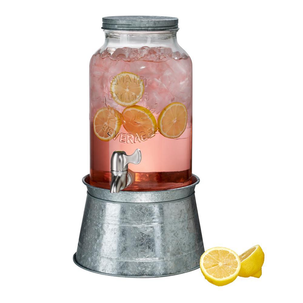 1.5 Gal. Masonware Beverage Dispenser with Galvanized Stand 10400A