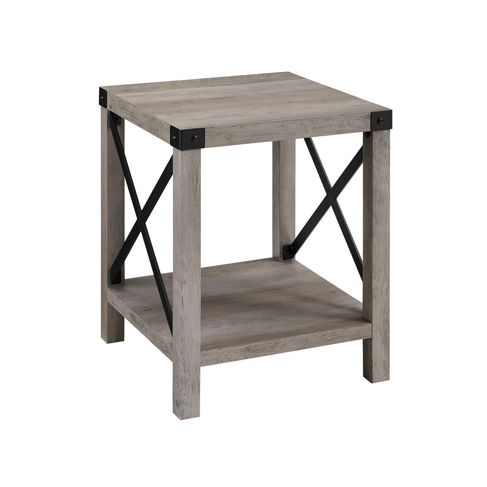 Grey Wash Rustic Urban Metal X Accent Side Table