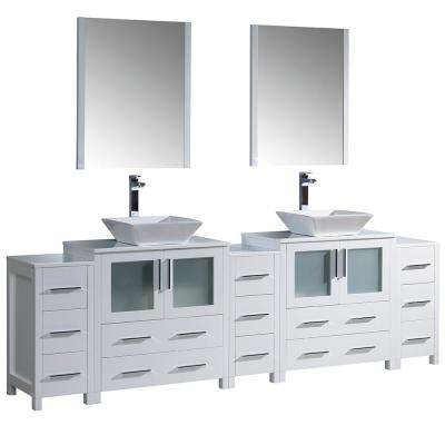 Torino 96 in. Double Vanity in White with Glass Stone Vanity Top in White with White Basins and Mirrors
