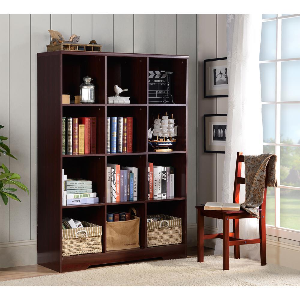 Large 12 Cube Storage Organizing Bookcase In Espresso