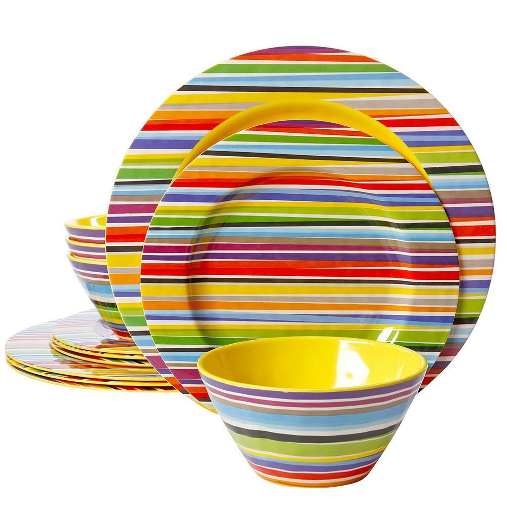 Studio Californa Color Celebration Decorated 12-Piece Multi-Color Dinnerware Set