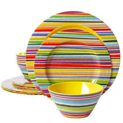 Studio Californa Color Celebration Decorated 12-Piece Multi-Color Dinnerware Set