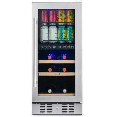Premium 15 in. Built-In Dual Zone 9-Bottle and 48 Can Wine and Beverage Cooler Fridge with SplitShelf - Stainless Steel