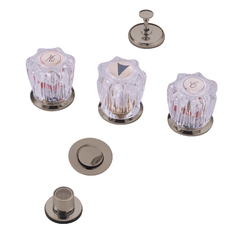 Kingston Brass Traditional 3-Handle Bidet Faucet in Brushed Nickel