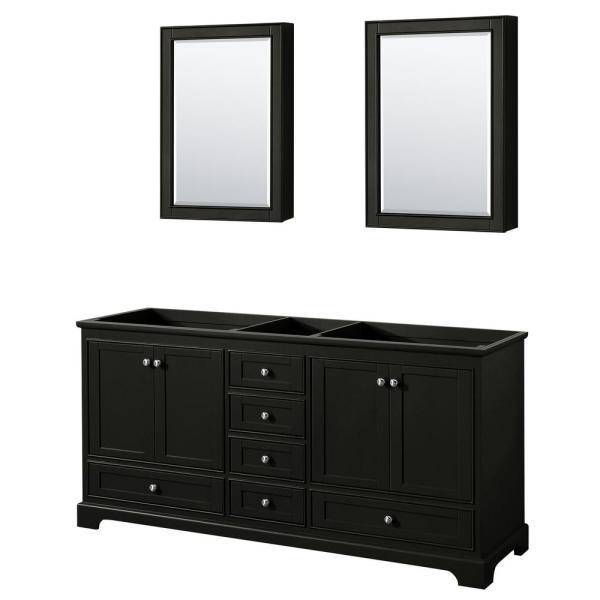 Deborah 71 in. Double Bathroom Vanity Cabinet Only with Medicine Cabinets in Dark Espresso