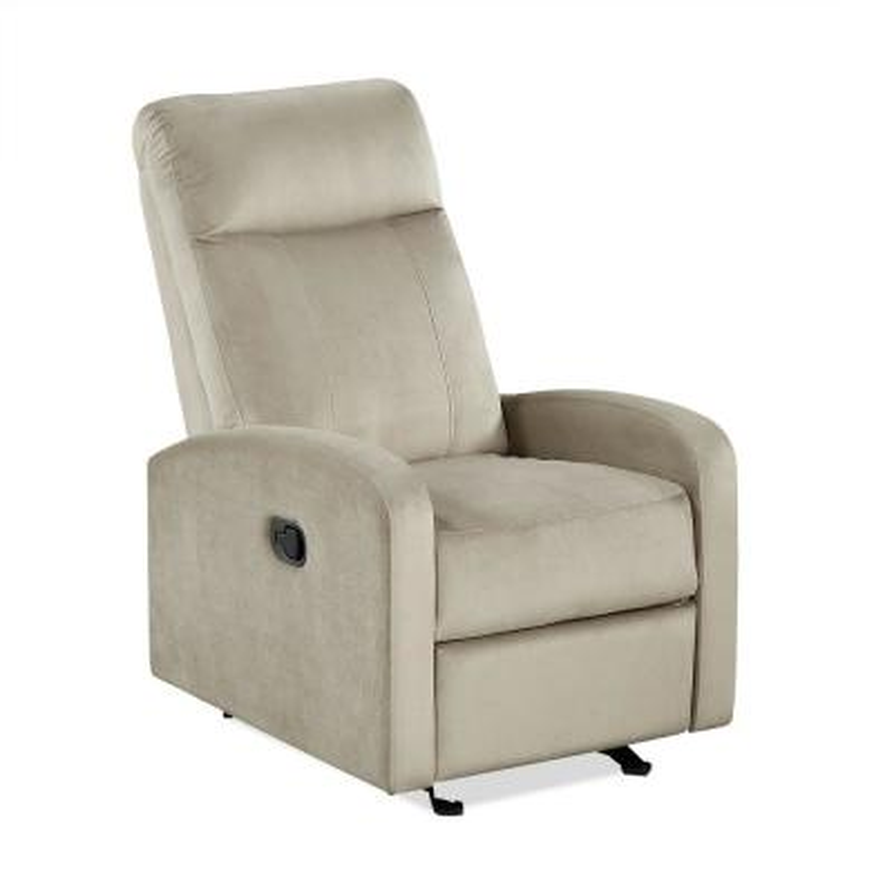 Lorine Gliding Recliner Chair, Living Room Armchair, Taupe Velvet