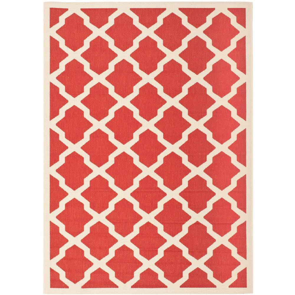 Safavieh Courtyard Red/Bone 4 ft. x 5 ft. 7 in. Indoor/Outdoor Area Rug