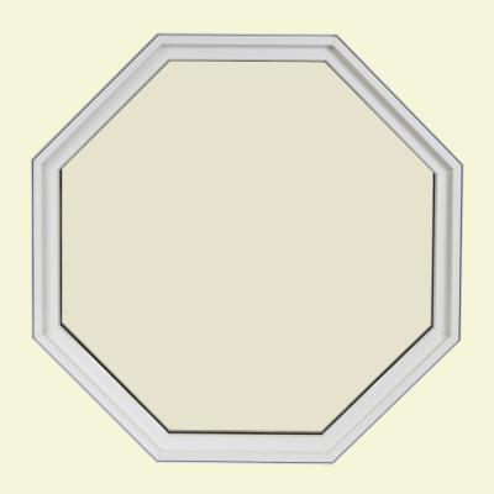 24 in. x 24 in. Octagon White 4-9/16 in. Jamb Geometric Aluminum Clad Wood Window