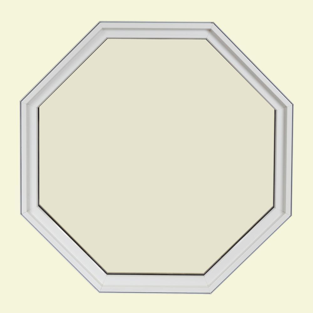 24 in. x 24 in. Octagon White 6-9/16 in. Jamb Geometric Aluminum Clad Wood Window