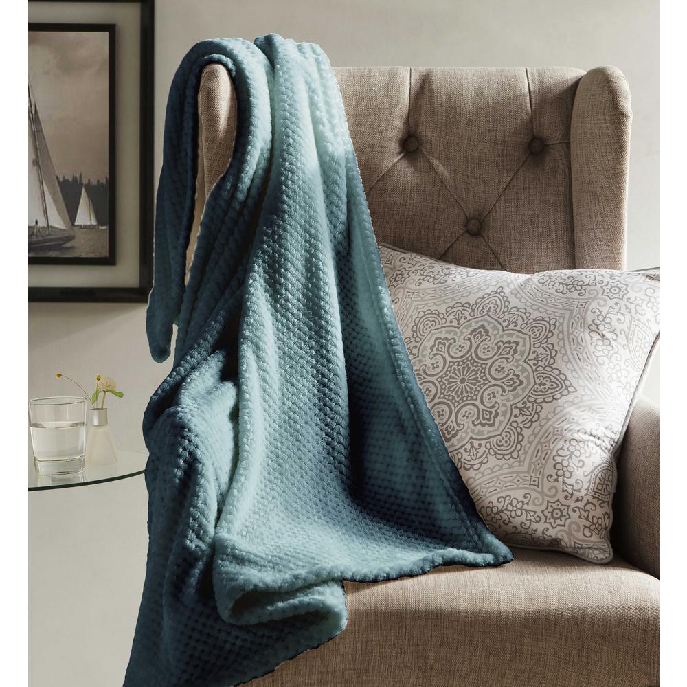 Myrcella Slate Blue Textured Fleece Throw