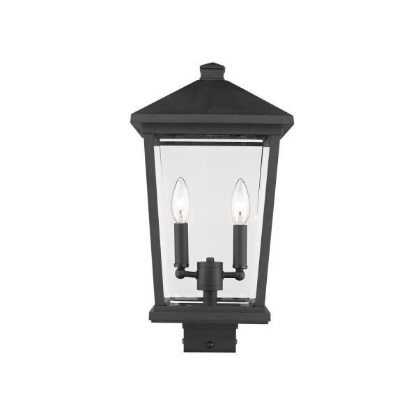 Filament Design 2 Light Black Outdoor Post Mount Fixture With Clear Beveled Glass Shade Hd Te32144 The Home Depot