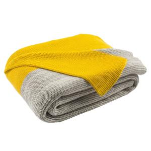 Sun Yellow Light Grey Throw Blanket