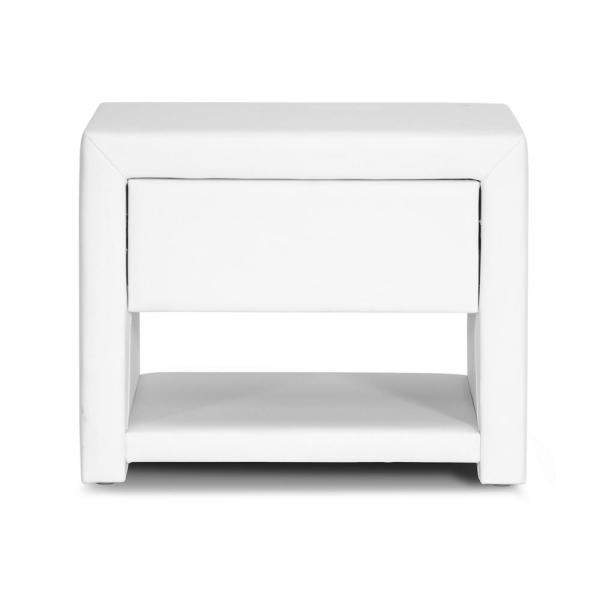 Baxton Studio Massey Glam 1-Drawer White Faux Leather Nightstand 28862-4823-HD