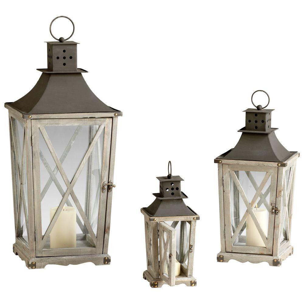 Filament Design Prospect 31.5 in. Weathered Pine and Rust Candle Holder Lanterns (Set of 3)