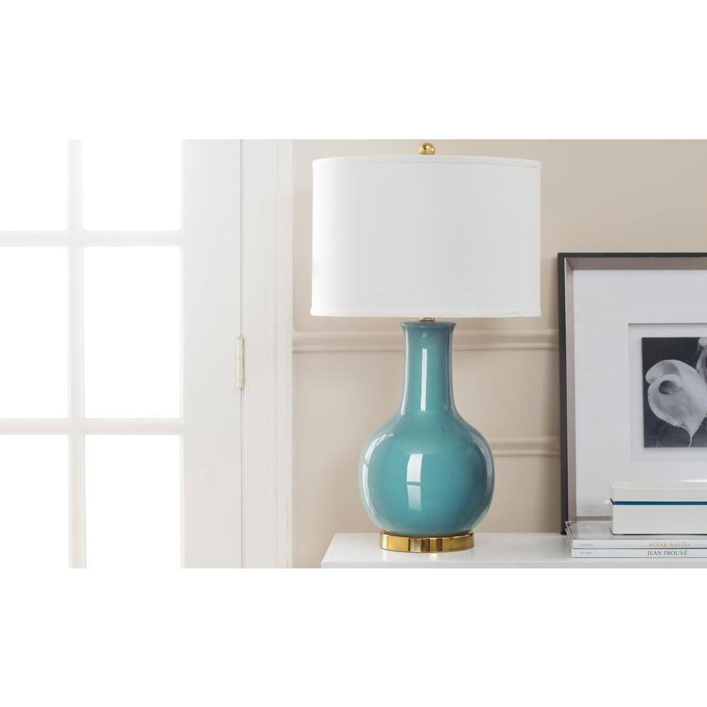 27.5 in. Light Blue Ceramic Paris Lamp with White Shade